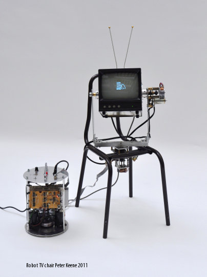 chaise TV robotique,sculpture cinétique, Peter Keene