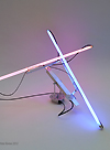 robotic lamp with two rotating neon tubes design Peter Keene